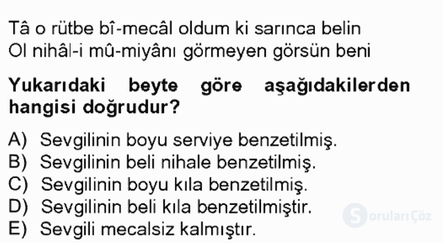 XIX. Yüzyıl Türk Edebiyatı Bahar Final 4. Soru