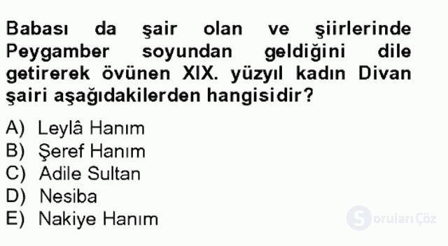 XIX. Yüzyıl Türk Edebiyatı Bahar Final 5. Soru