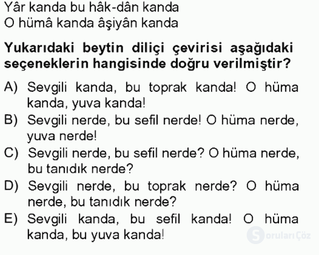 XIX. Yüzyıl Türk Edebiyatı Bahar Final 6. Soru