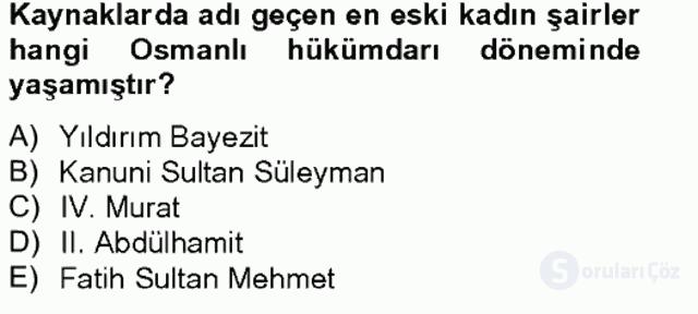 XIX. Yüzyıl Türk Edebiyatı Bahar Final 7. Soru