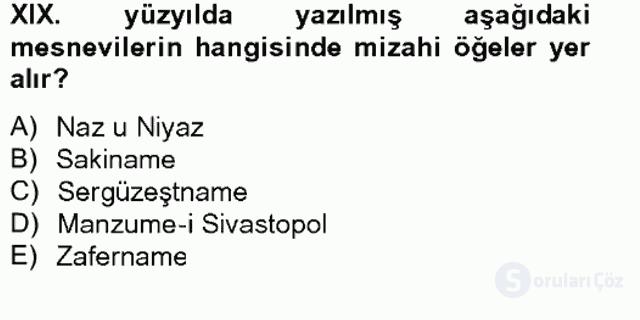XIX. Yüzyıl Türk Edebiyatı Bahar Final 9. Soru