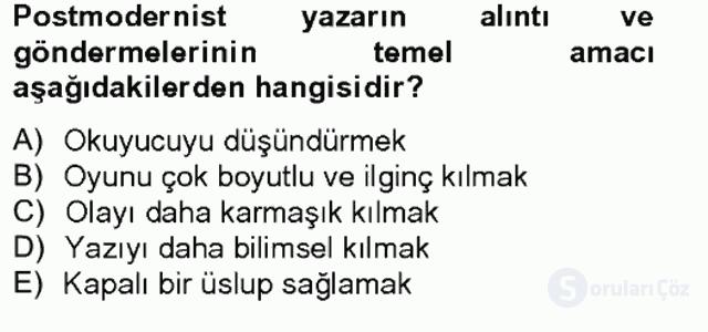 Çağdaş Türk Romanı Bahar Final 1. Soru