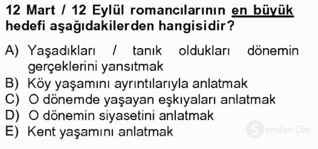 Çağdaş Türk Romanı Bahar Final 10. Soru