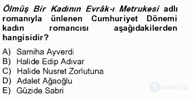 Çağdaş Türk Romanı Bahar Final 12. Soru