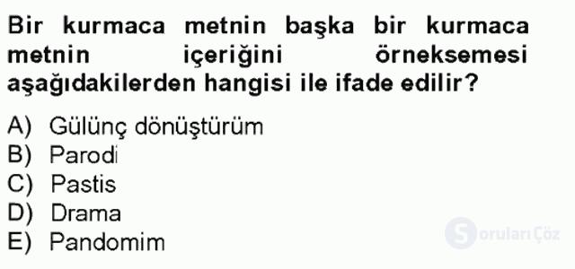 Çağdaş Türk Romanı Bahar Final 13. Soru