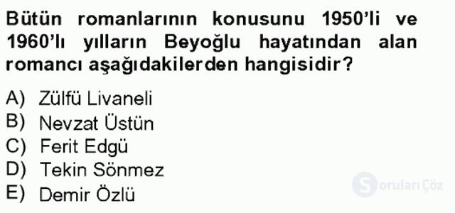 Çağdaş Türk Romanı Bahar Final 14. Soru