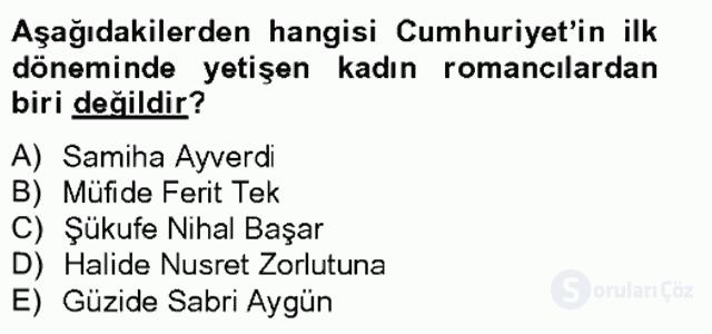 Çağdaş Türk Romanı Bahar Final 17. Soru