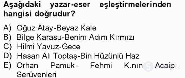 Çağdaş Türk Romanı Bahar Final 3. Soru