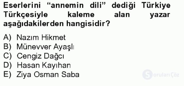 Çağdaş Türk Romanı Bahar Final 4. Soru