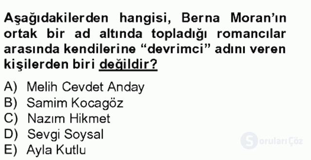 Çağdaş Türk Romanı Bahar Final 5. Soru