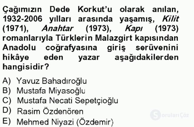 Çağdaş Türk Romanı Bahar Final 6. Soru