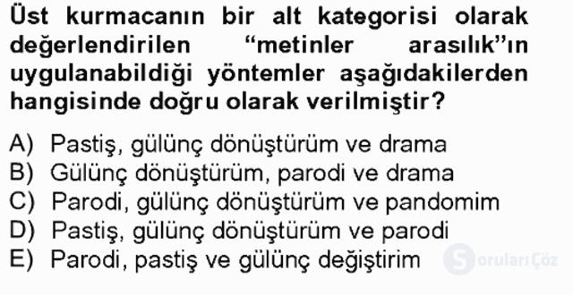 Çağdaş Türk Romanı Bahar Final 8. Soru