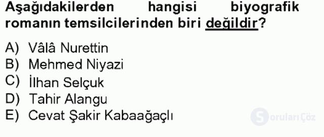 Çağdaş Türk Romanı Bahar Final 9. Soru
