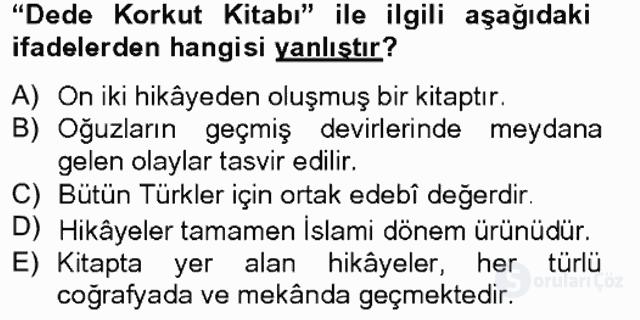 Çağdaş Türk Edebiyatları II Bahar Final 1. Soru