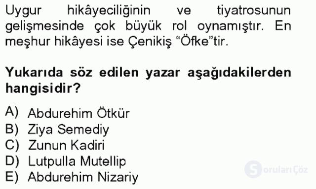 Çağdaş Türk Edebiyatları II Bahar Final 10. Soru