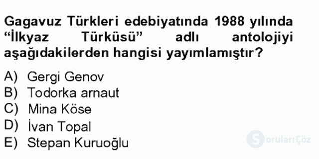 Çağdaş Türk Edebiyatları II Bahar Final 13. Soru
