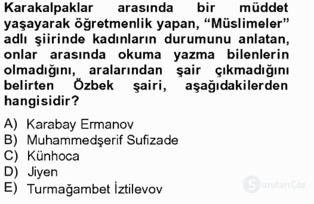 Çağdaş Türk Edebiyatları II Bahar Final 14. Soru