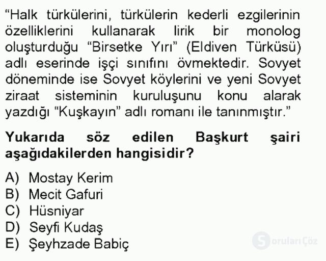 Çağdaş Türk Edebiyatları II Bahar Final 16. Soru