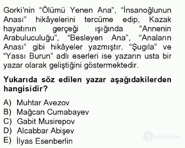 Çağdaş Türk Edebiyatları II Bahar Final 2. Soru
