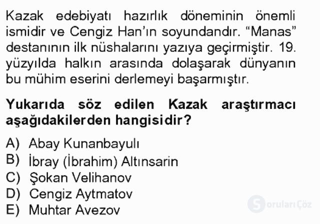 Çağdaş Türk Edebiyatları II Bahar Final 3. Soru
