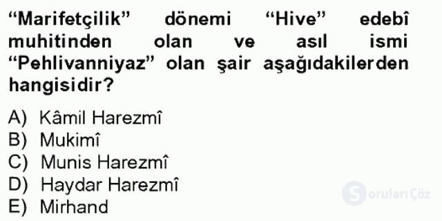 Çağdaş Türk Edebiyatları II Bahar Final 4. Soru