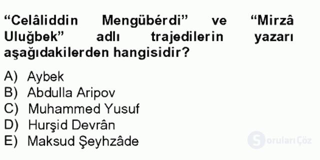 Çağdaş Türk Edebiyatları II Bahar Final 5. Soru