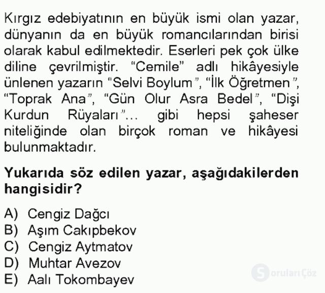 Çağdaş Türk Edebiyatları II Bahar Final 7. Soru