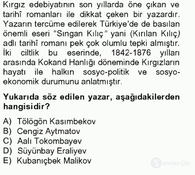 Çağdaş Türk Edebiyatları II Bahar Final 8. Soru