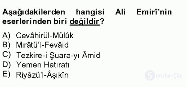 Eski Türk Edebiyatının Kaynaklarından Şair Tezkireleri Bahar Final 14. Soru