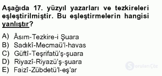 Eski Türk Edebiyatının Kaynaklarından Şair Tezkireleri Bahar Final 6. Soru