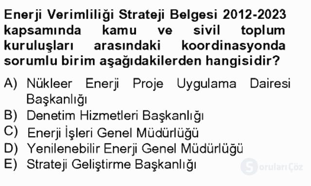 Enerji Yönetimi ve Politikaları Bahar Final 19. Soru