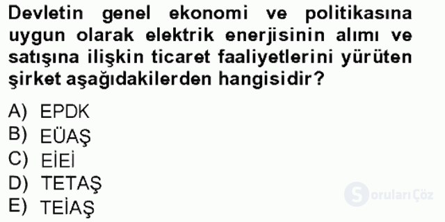 Enerji Yönetimi ve Politikaları Bahar Final 5. Soru