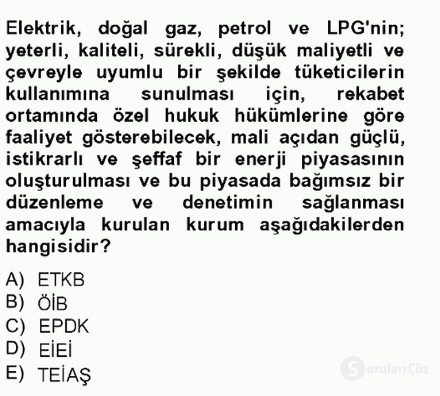 Enerji Yönetimi ve Politikaları Bahar Final 6. Soru