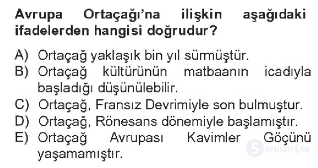 Kültür Tarihi Bahar Dönemi Final Final 3. Soru