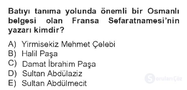 Kültür Tarihi Bahar Dönemi Final Final 8. Soru