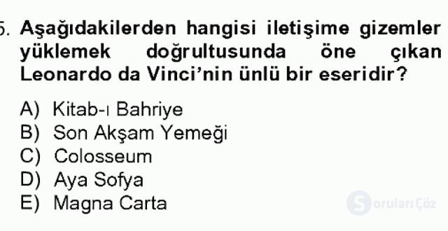 Görsel Kültür Bahar Dönemi Final Final 15. Soru