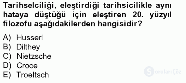 Tarih Felsefesi II Bahar Final 16. Soru