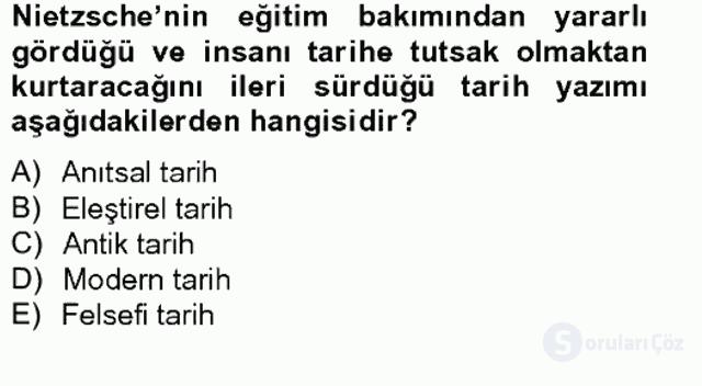 Tarih Felsefesi II Bahar Final 9. Soru