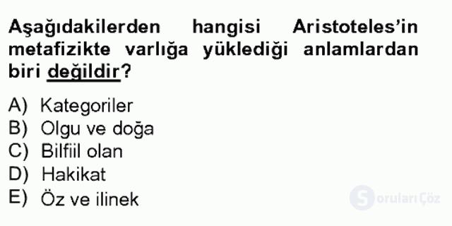 Çağdaş Felsefe II Bahar Final 3. Soru