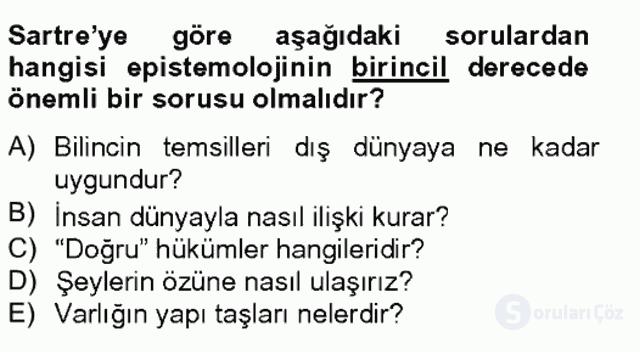 Çağdaş Felsefe II Bahar Final 9. Soru