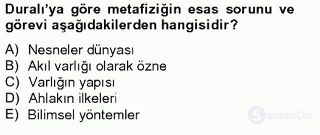 Türkiye'de Felsefenin Gelişimi II Bahar Final 12. Soru