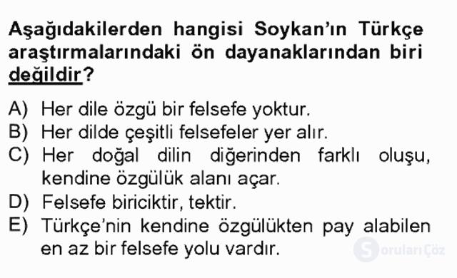 Türkiye'de Felsefenin Gelişimi II Bahar Final 5. Soru