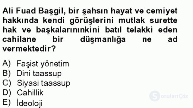 Türkiye'de Felsefenin Gelişimi II Bahar Final 8. Soru