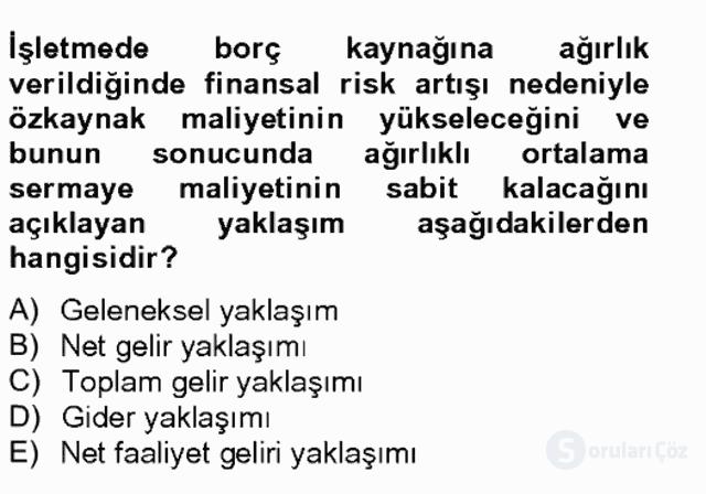 Finansal Yönetim II Bahar Final 6. Soru