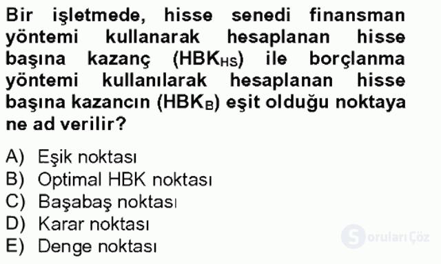 Finansal Tablolar Analizi Bahar Final 13. Soru