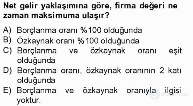 Finansal Tablolar Analizi Bahar Final 16. Soru