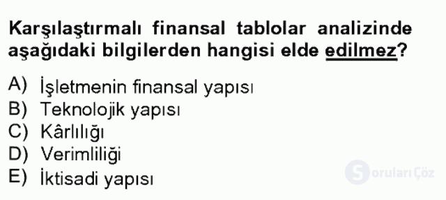 Finansal Tablolar Analizi Bahar Final 3. Soru