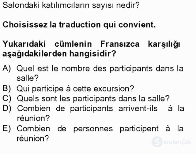 Turizm İçin Fransızca II Bahar Final 17. Soru