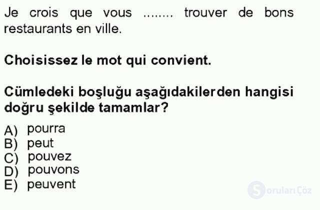 Turizm İçin Fransızca II Bahar Final 5. Soru