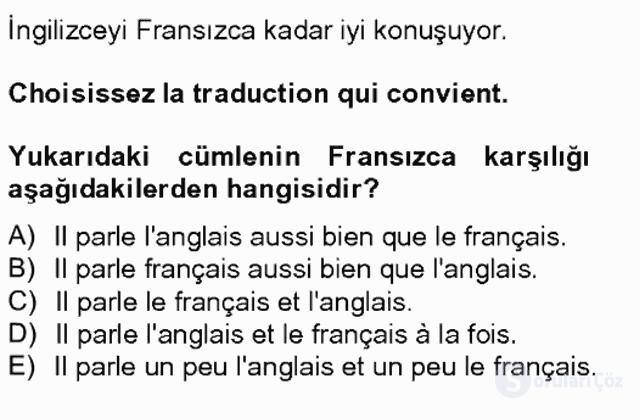 Turizm İçin Fransızca II Bahar Final 6. Soru